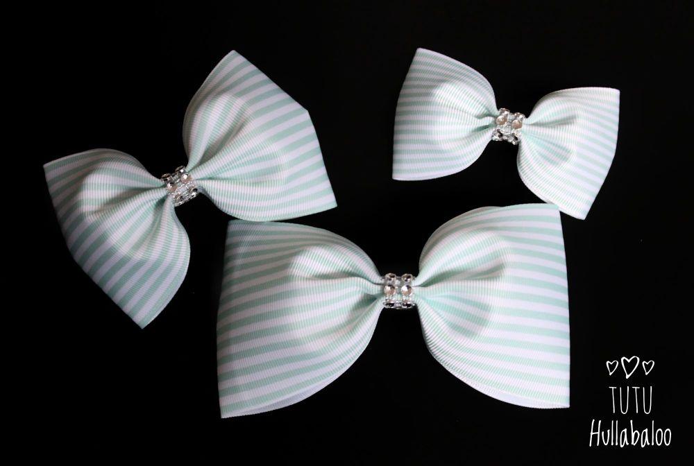 Pinstripe Aqua Tux Bow