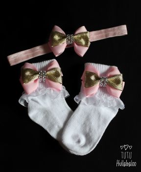Pink/Gold Double Tux - Fold over sock set