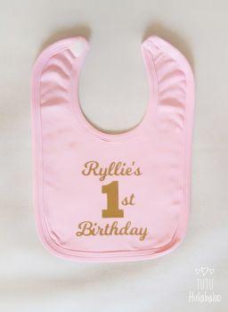 First Birthday Bib - Pink/Gold Glitter