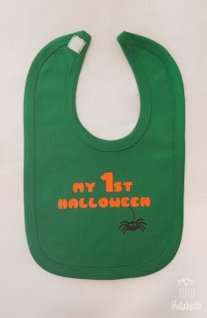 First Halloween Bib - Green/Orange