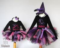 Witch Tutu + Top Set - Black/Pink/Purple