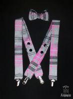 Tartan Shorts, Braces and Bowtie Set - Pink/Grey