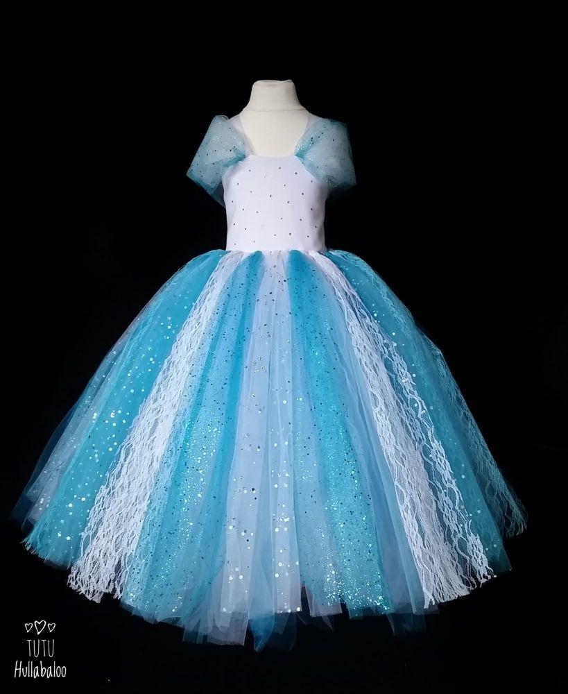 Full Length Dress Blue/White