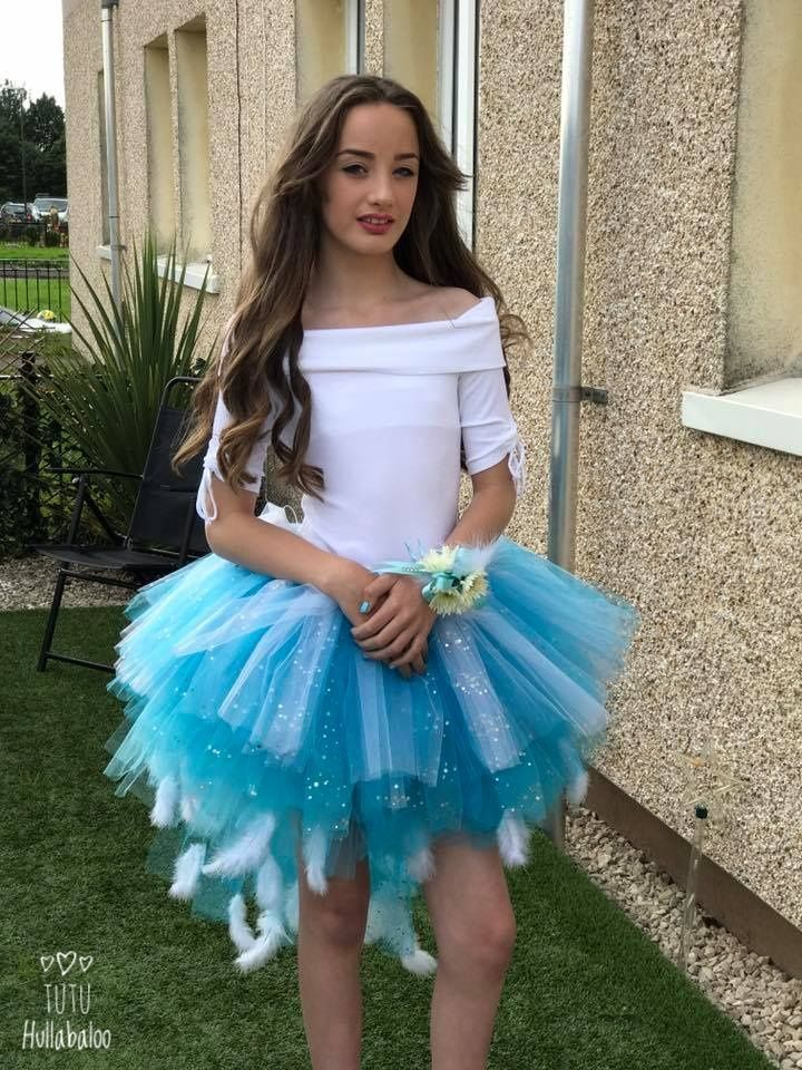 Blue/White Feathered Tail Tutu