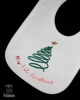 First Christmas Bib - White/Green/Red