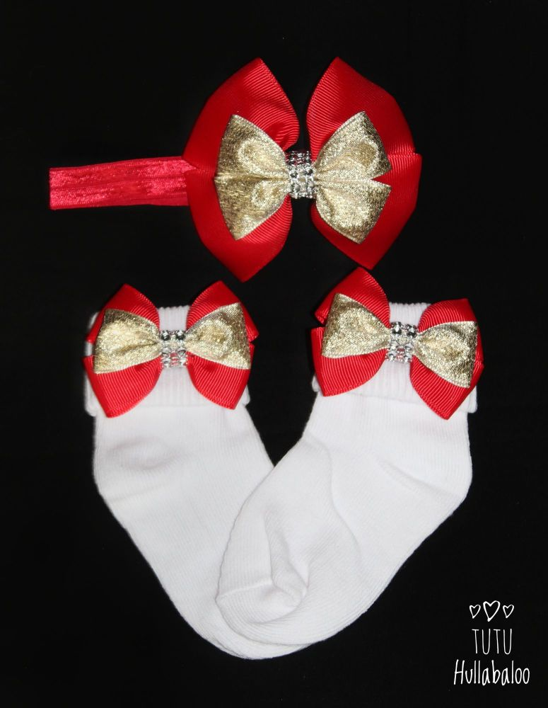 Fold over sock set - Red/Gold Double Tux