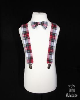 Tartan Braces and Bowtie Set - Dress Stewart Tartan