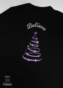 Believe Tree Tshirt - Black/Purple/Silver