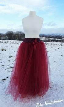 Long Tulle Skirt - Wine - Adult