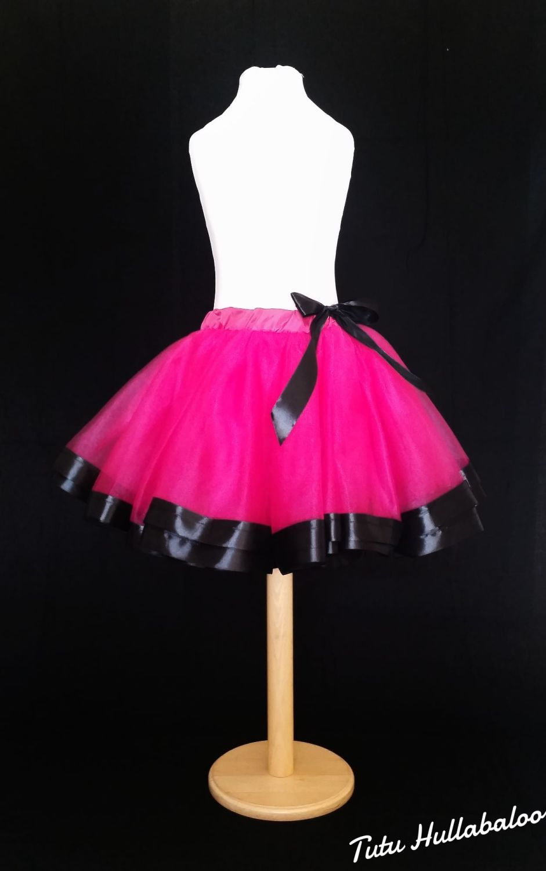 Ribbon Trimmed Tulle Skirt - Fuschia/Black