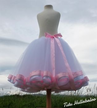 Ribbon Trimmed Tulle Skirt - White/Pink - Adult