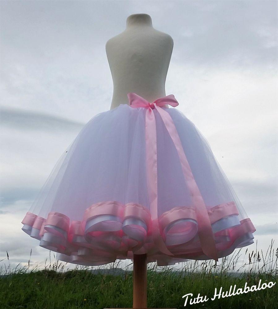 Ribbon Trimmed Tulle Skirt - White/Pink