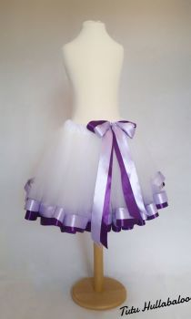 Ribbon Trimmed Tulle Skirt - White/Lilac/Purple - Adult