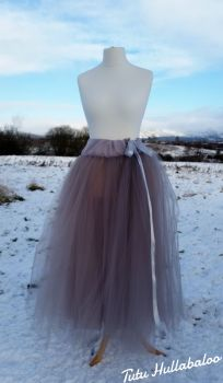 Long Tulle Skirt - Silver - Adult
