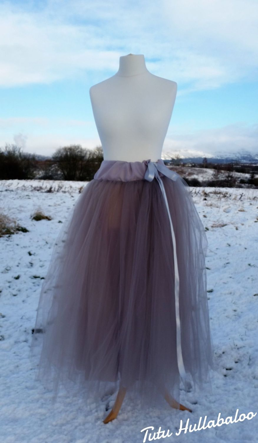Long Tulle Skirt - Silver