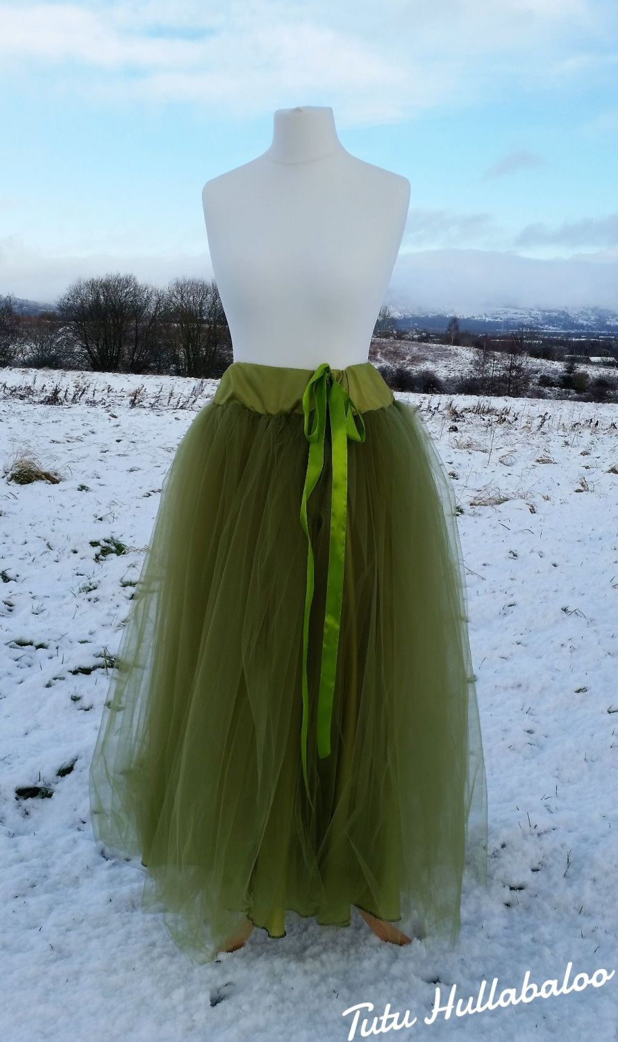 Long Tulle Skirt - Grass Green
