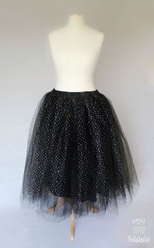 Long Tulle Skirt - Black - Adult
