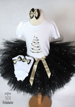 Christmas Tree Tutu + Top Set Black/Gold