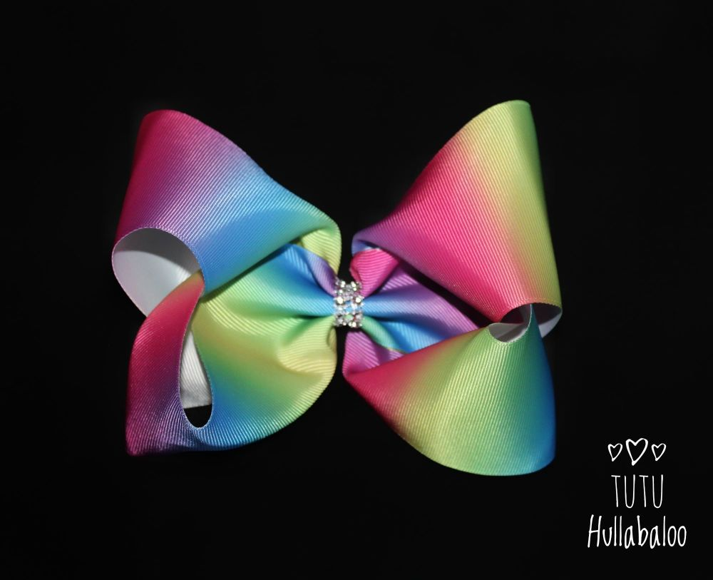 Vertical Rainbow Ombre Mega Bow