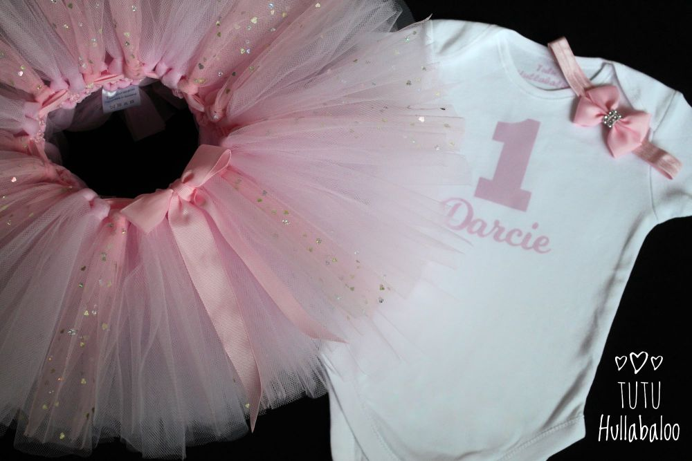 First Birthday Tutu + Top Set - White/Pearl Pink/Pink