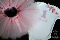 Birthday Tutu + Top Set - White/Pearl Pink/Pink
