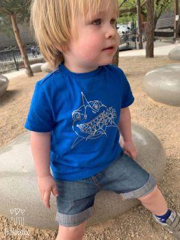 Shark Tshirt - Royal Blue/Metallic Silver