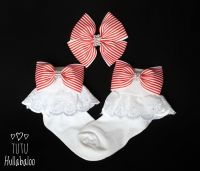 Pinstripe Red - Fold over sock set