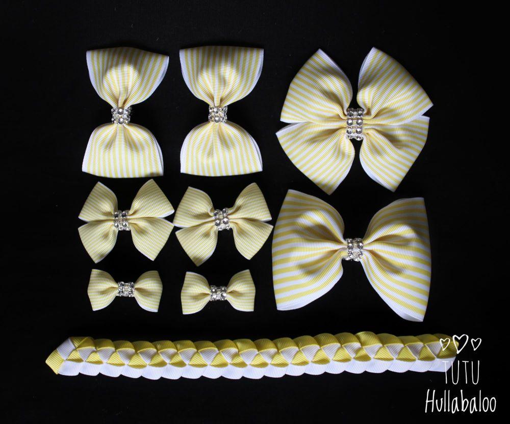 Pinstripe Lemon - School Bow Set - 8 bows + Bun Wrap