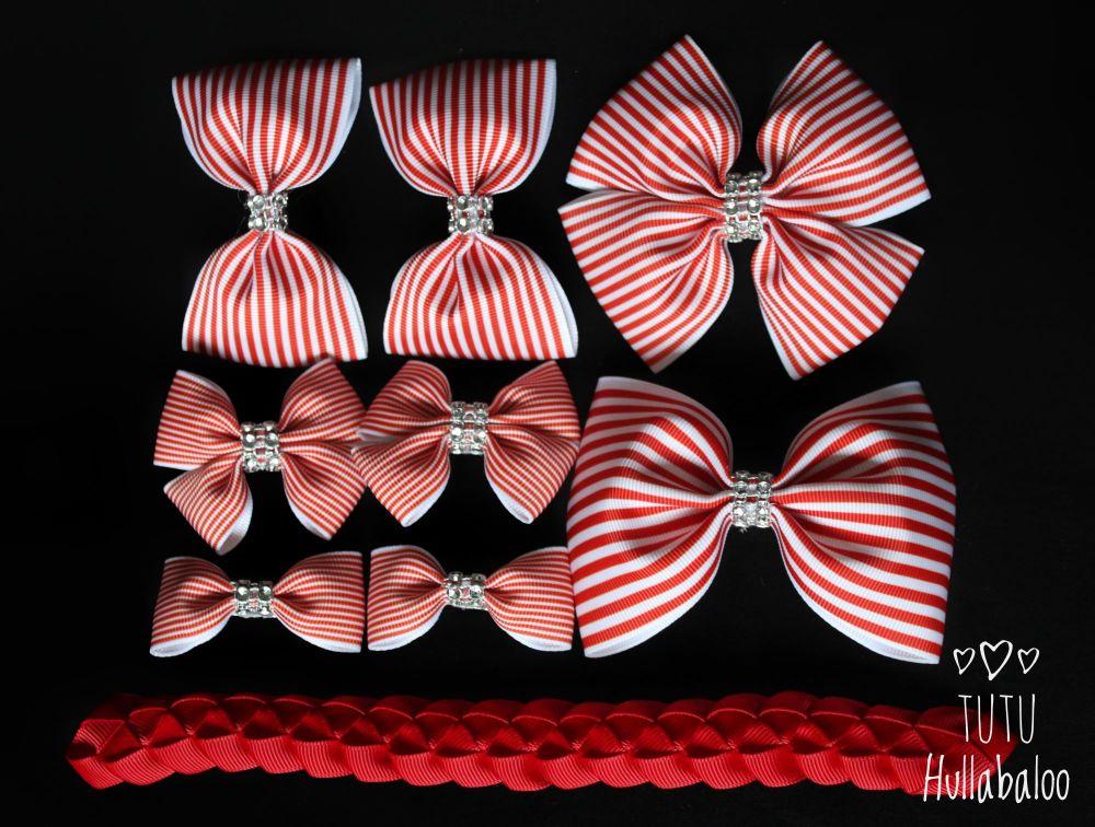 Pinstripe Red - School Bow Set - 8 bows + Bun Wrap