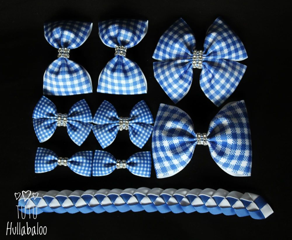 School Checked Blue - School Bow Set - 8 bows + Bun Wrap