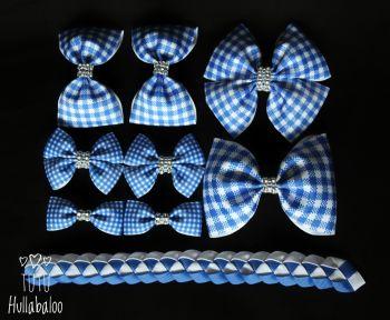 School Checked Blue - School Bow Set - 8 bows + Bun Wrap