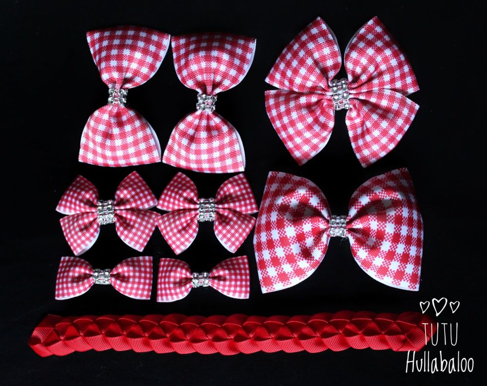 School Checked Red - School Bow Set - 8 bows + Bun Wrap