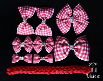 School Checked Red - School Bow Set - 8 bows + Bun Wrap