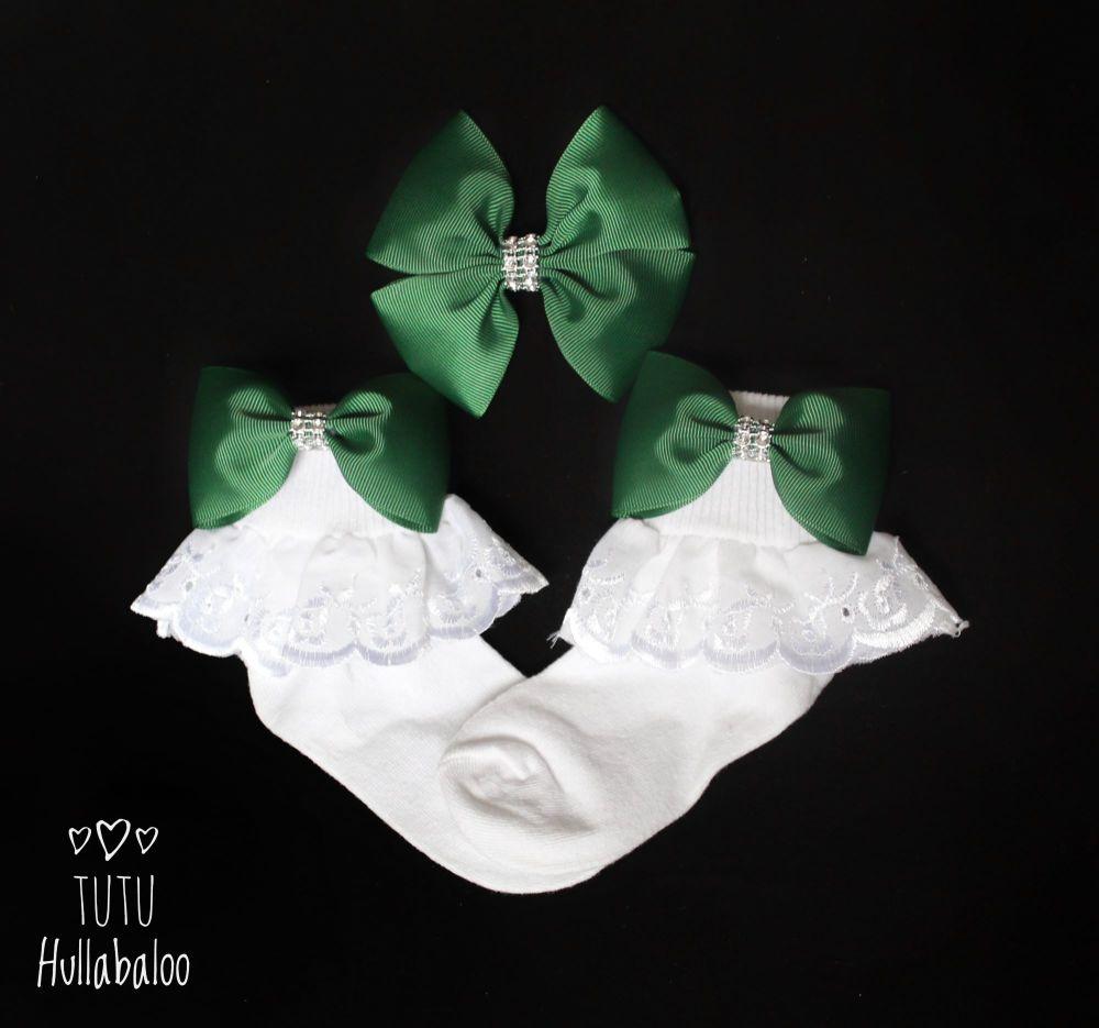 Plain Forest Green - Fold over sock set