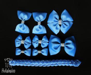 Plain Blue - School Bow Set - 8 bows + Bun Wrap