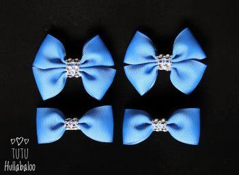 Plain Blue - Bunches Bows - 4 bows