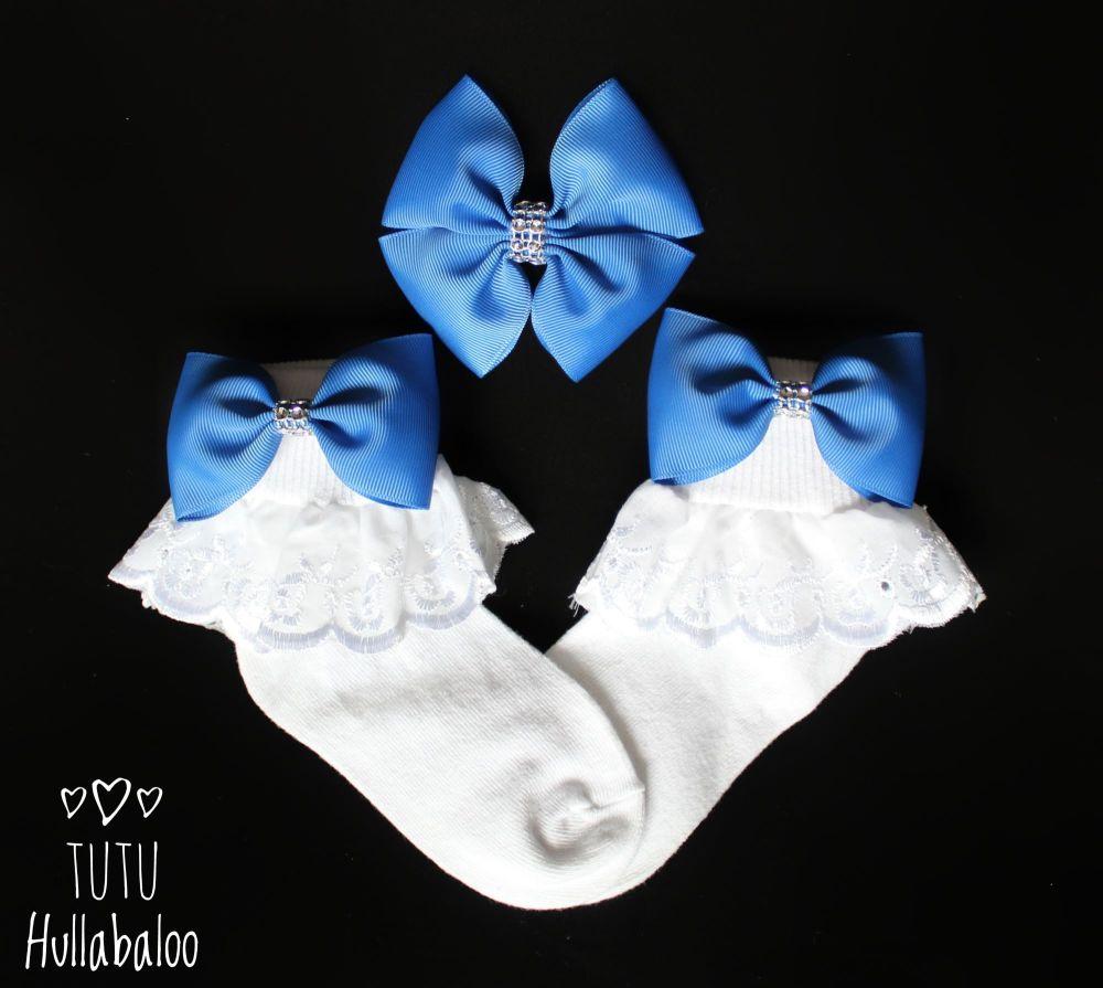 Plain Blue - Fold over sock set