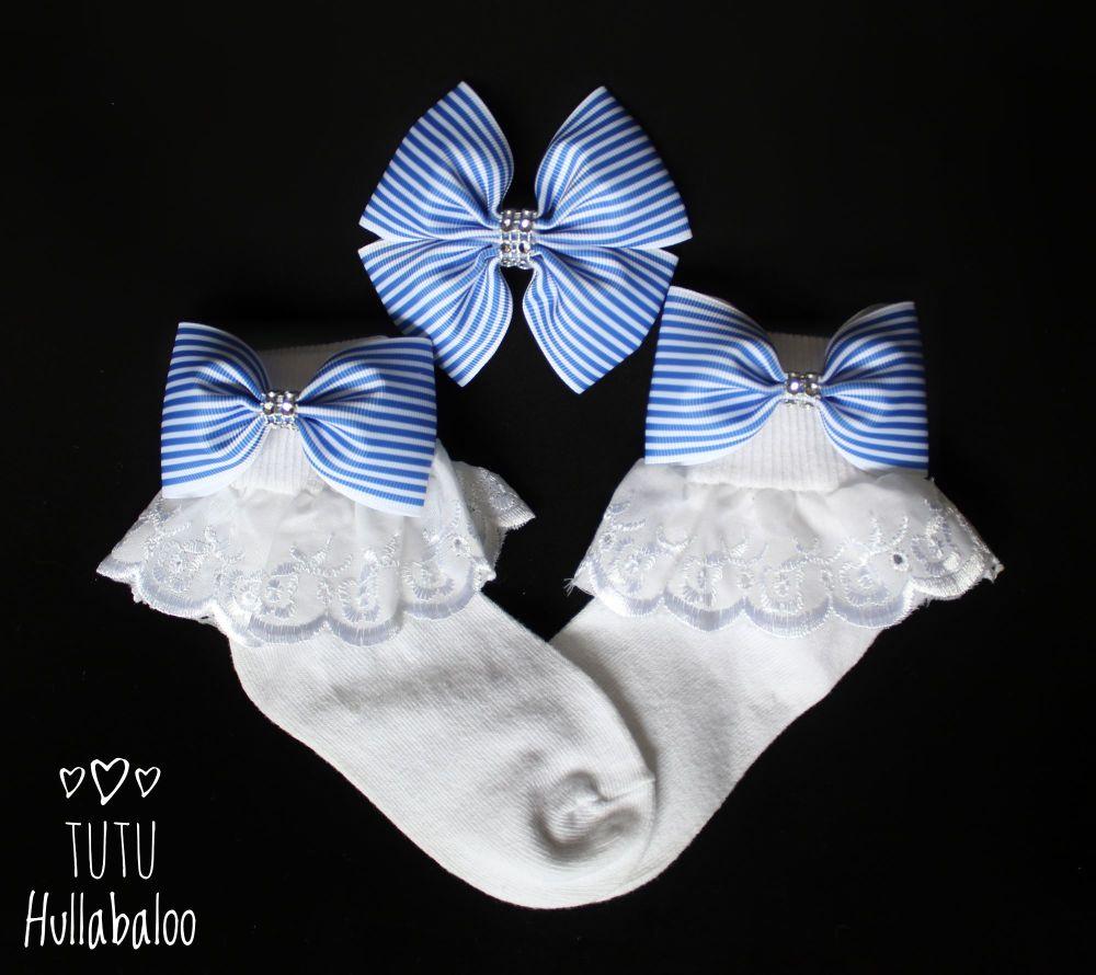 Pinstripe Blue - Fold over sock set