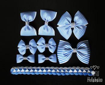 Pinstripe Blue - School Bow Set - 8 bows + Bun Wrap
