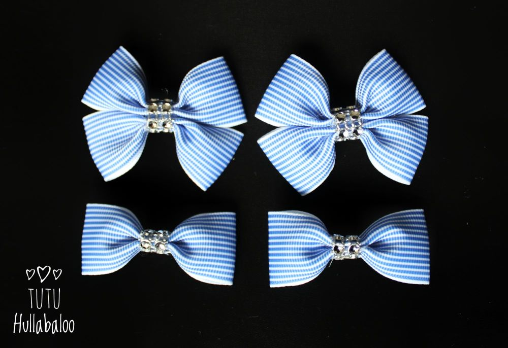 Pinstripe Blue - Bunches Bows - 4 bows