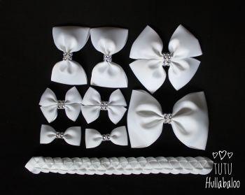 Plain White - School Bow Set - 8 bows + Bun Wrap
