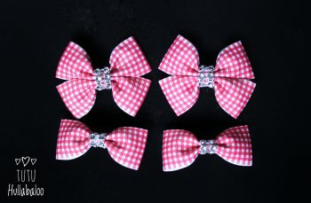 School Checked Red - Bunches Bows - 4 bows