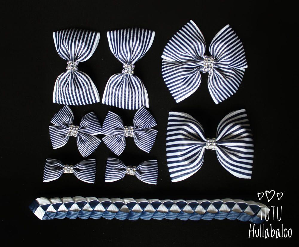 Pinstripe Navy - School Bow Set - 8 bows + Bun Wrap