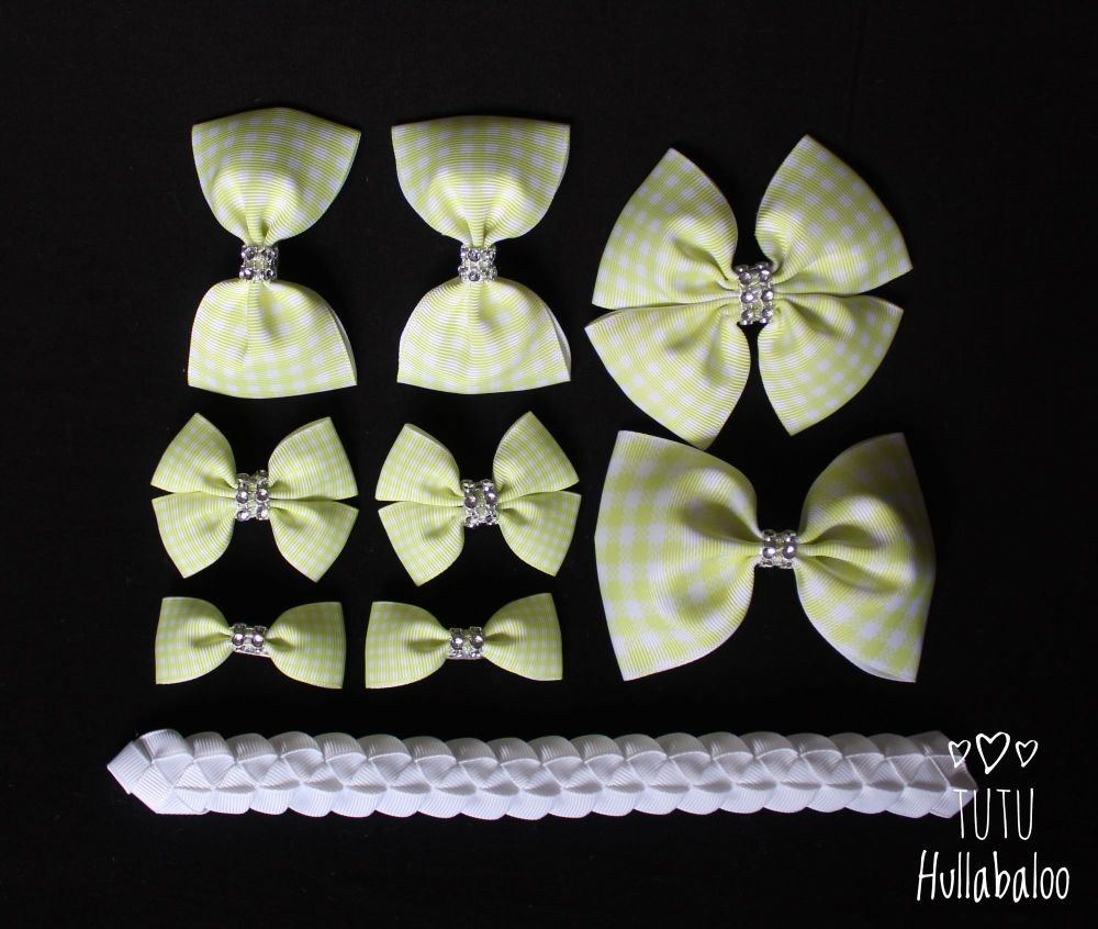School Checked Yellow - School Bow Set - 8 bows + Bun Wrap