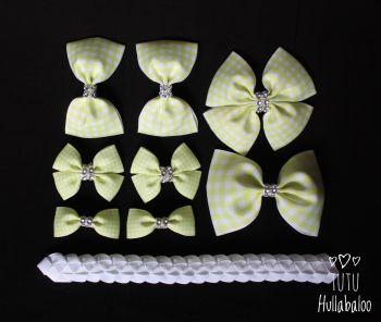 School Checked Yellow - School Bow Set - 8 bows + Bun Wrap