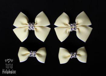 Pinstripe Lemon - Bunches Bows - 4 bows