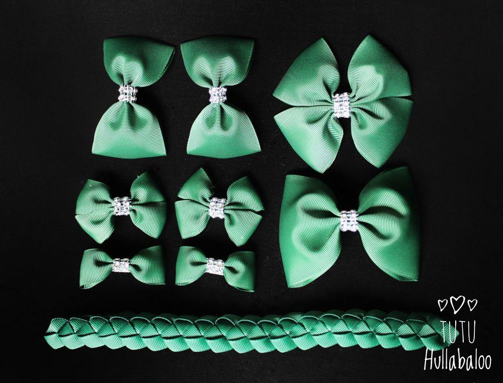 Plain Forrest Green - School Bow Set - 8 bows + Bun Wrap