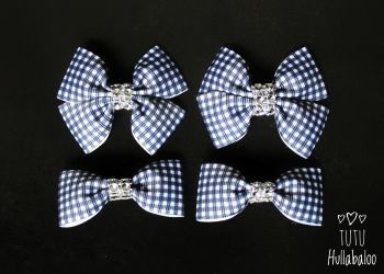 School Checked Navy - Bunches Bows - 4 bows