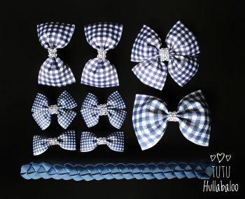 School Checked Navy - School Bow Set - 8 bows + Bun Wrap
