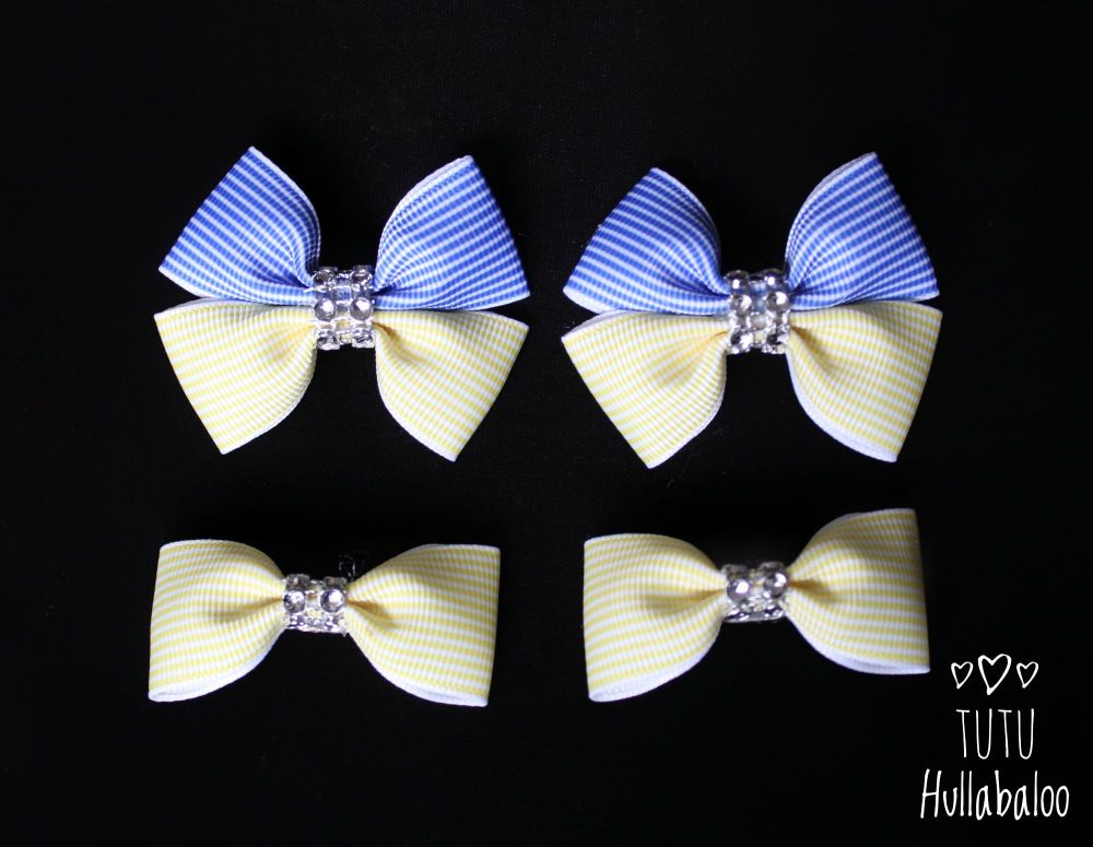 Pinstripe Blue/Lemon - Bunches Bows - 4 bows